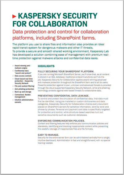 Kaspersky Security for Collaboration - Veri Sayfası