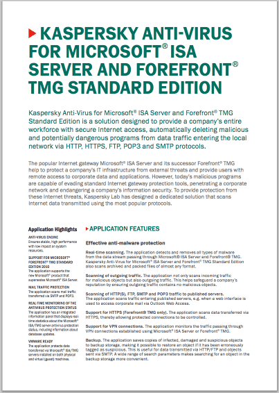 Kaspersky Anti-Virus for Microsoft® ISA Server and Forefront® TMG Standard Edition - Data Sheet